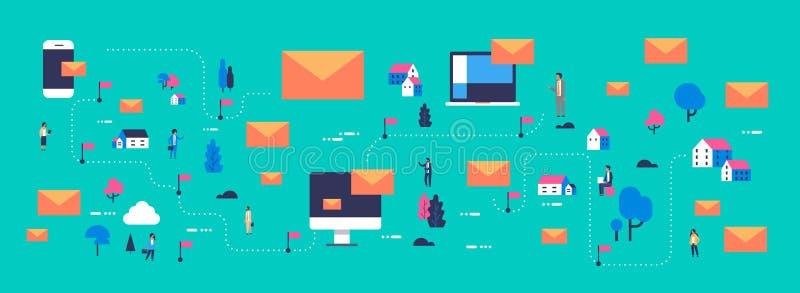 Envelope em linha móvel do correio do conceito isométrico do mapa de uma comunicação dos povos do mensageiro da aplicação informá ilustração stock