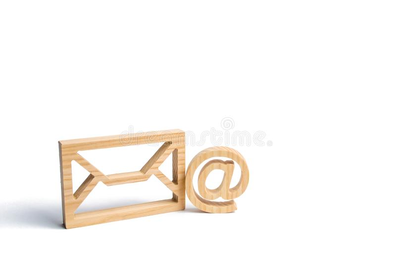 Envelope and email symbol on a white background. Concept email address. Internet technologies and contacts for communication. royalty free stock photo