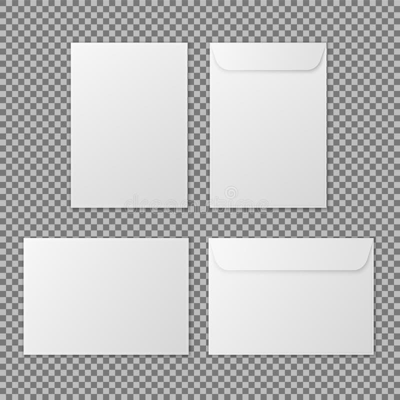 Envelope a4 Envelopes vazios brancos de papel da letra para o documento vertical e horizontal ilustração stock