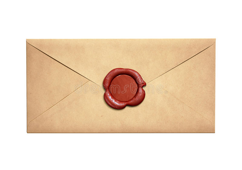 Envelope estreito velho da letra com o selo vermelho da cera isolado imagem de stock royalty free