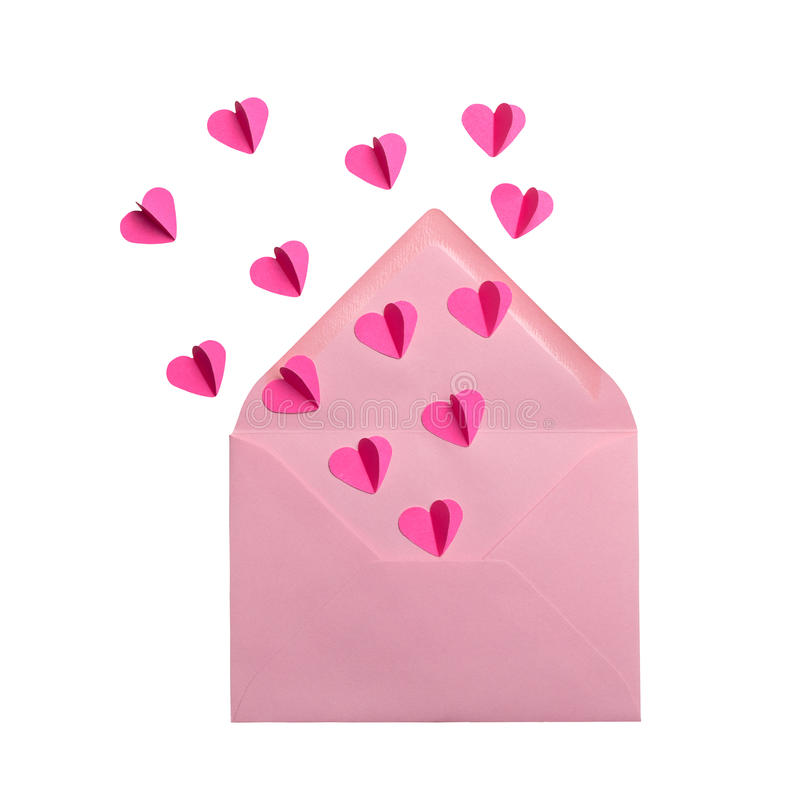Envelope with flying hearts on white background. Pink envelope with flying hearts on white background royalty free stock photo