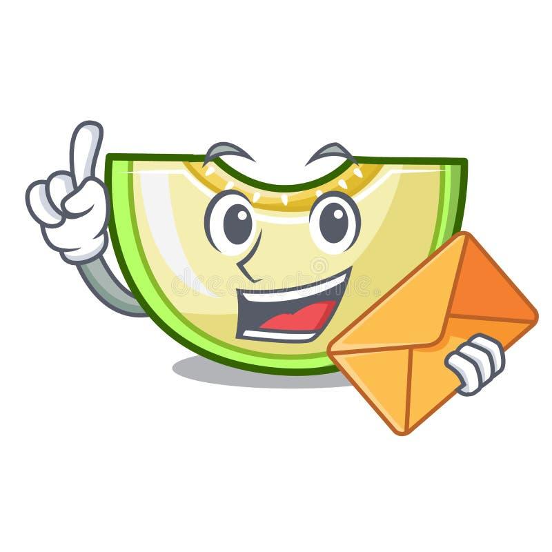 With envelope fresh melon slice in the frezeer cartoon royalty free illustration