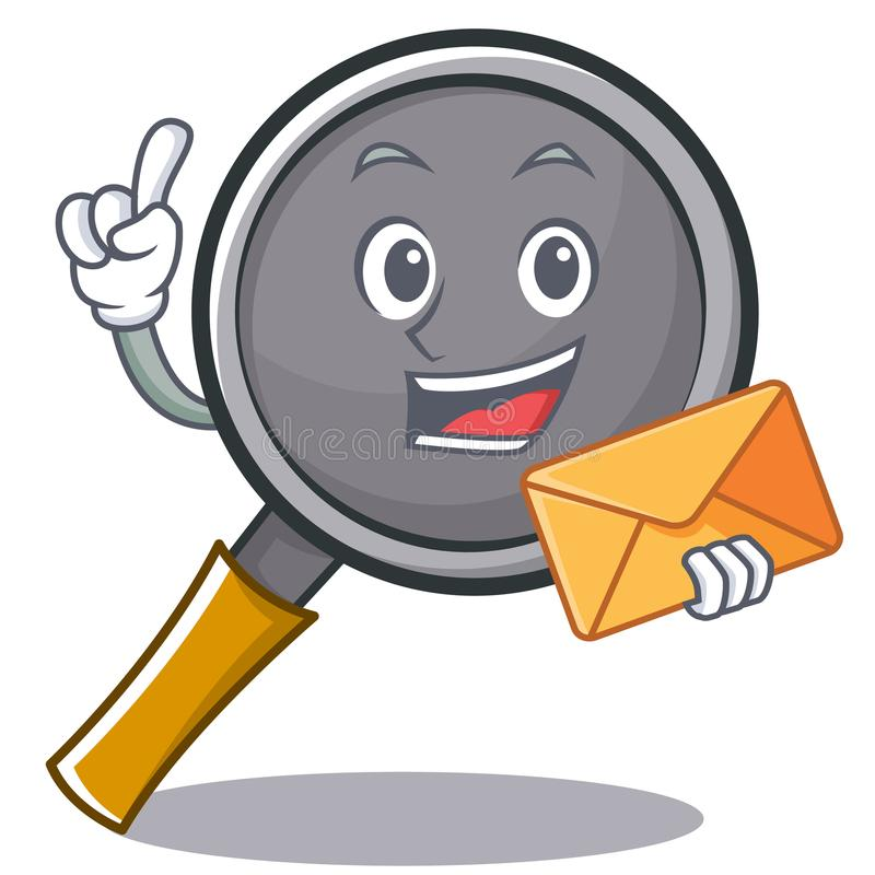 With envelope frying pan cartoon character. Vector illustration stock illustration