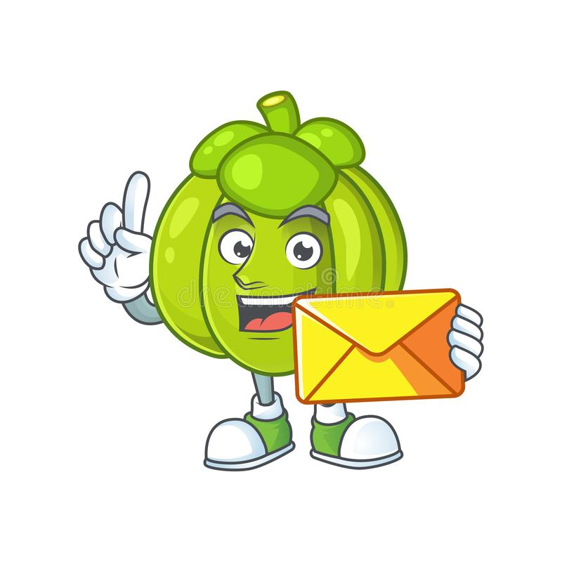 With envelope green pumpkin isolated on white background royalty free illustration