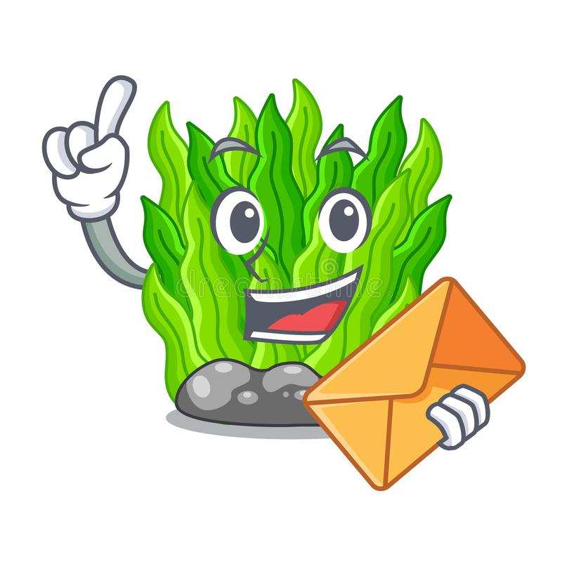 With envelope green seaweed isolated with the character vector illustration
