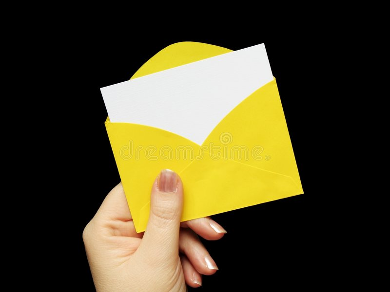 Envelope in hand stock photography
