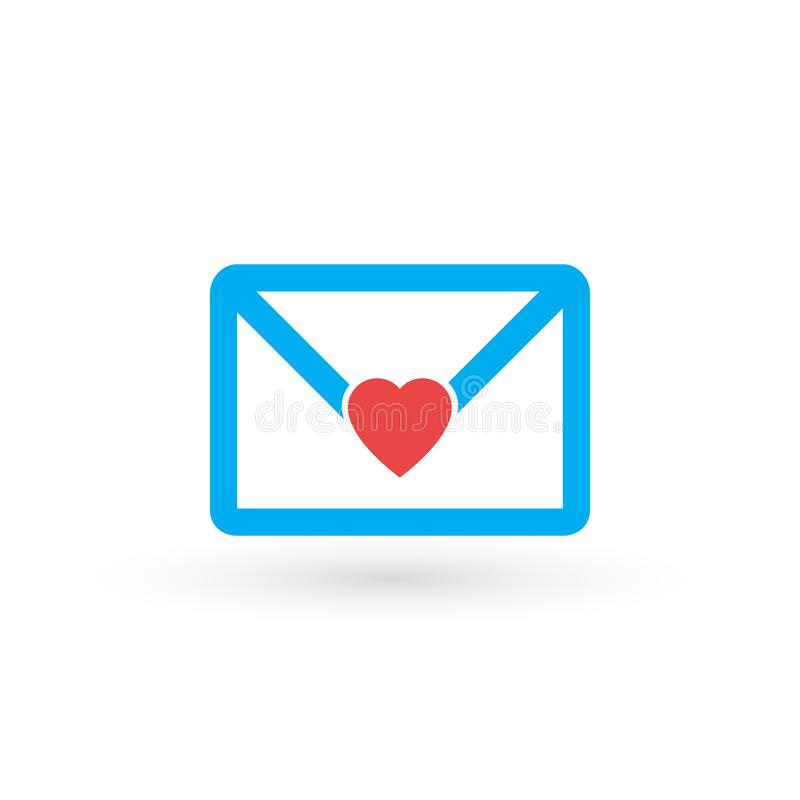 Envelope with heart, be my valentine, love letter, vector illustration isolated on white background stock illustration