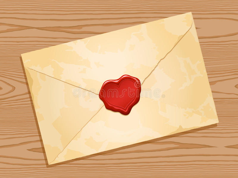 Download Envelope With Heart Wax Seal Wood Background Stock Vector - Illustration: 22538247