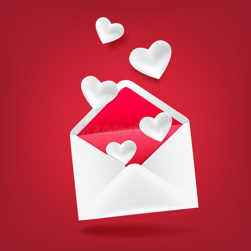 Envelope with hearts. The idea of the cards in Valentines Day stock illustration