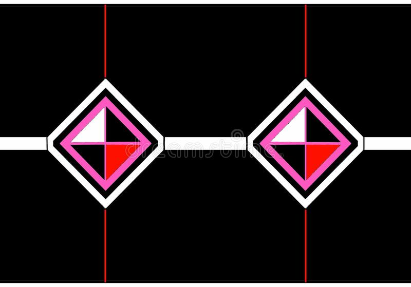 Envelope icon: black, pink and white diamonds with black, red and white triangles. vector illustration