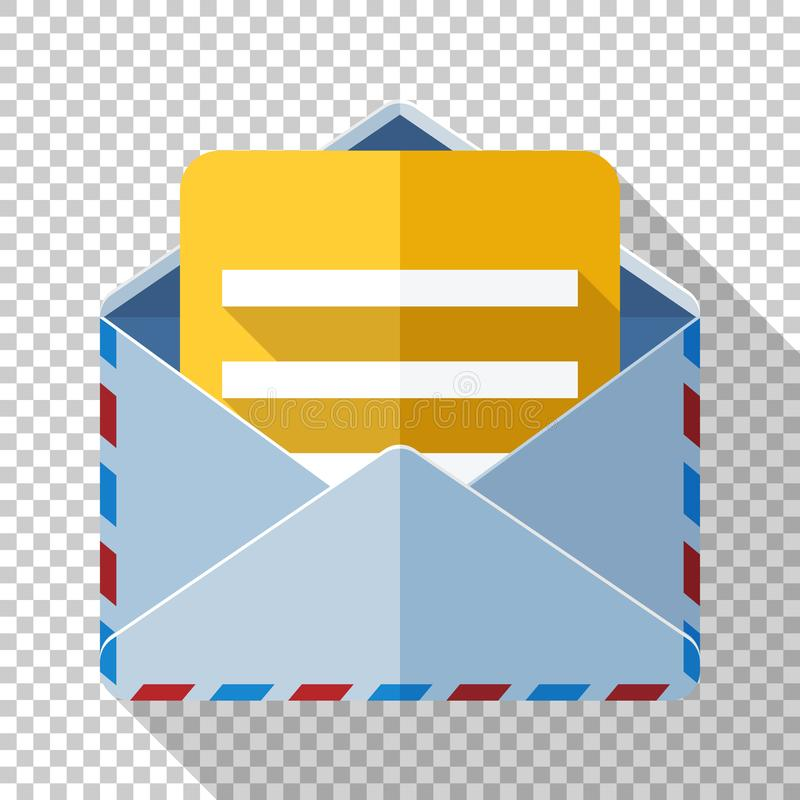 Envelope icon with a letter in flat style on transparent background royalty free illustration
