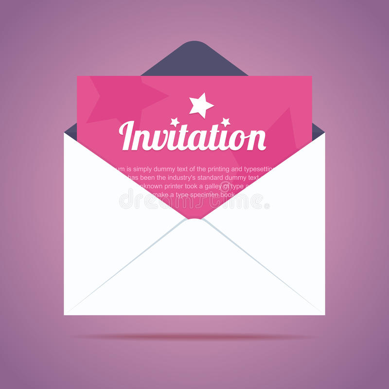 Envelope With Invitation Card And Star Shapes Stock Vector
