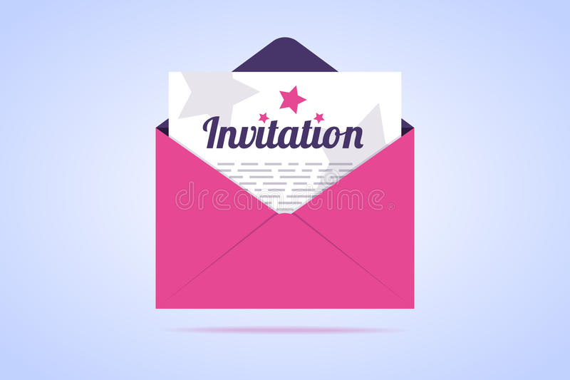 Envelope with invitation letter. Vector illustration in flat style stock illustration