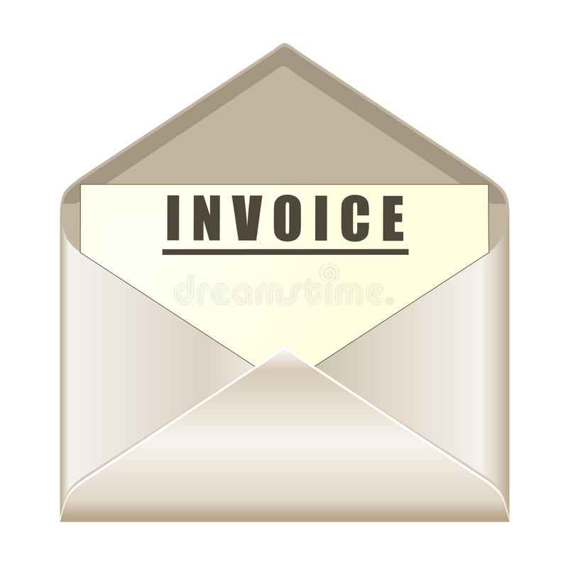 Envelope with invoice document. Isolated on white vector illustration