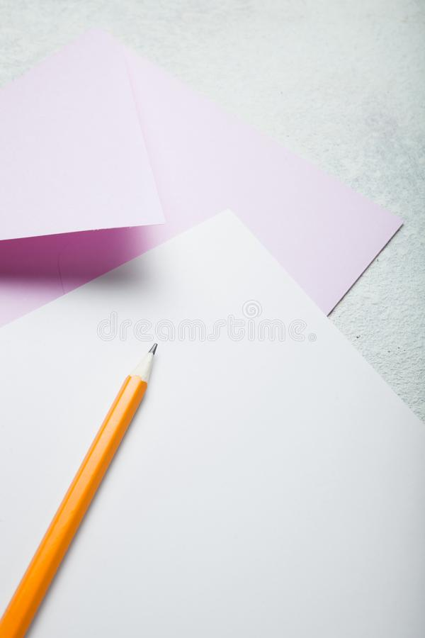 Envelope or letter in gently pink tones. Valentine`s Day stock image