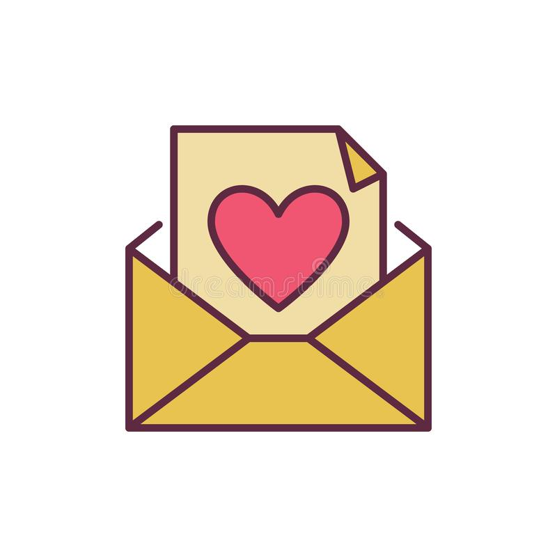 Envelope and Letter with Heart vector creative icon vector illustration