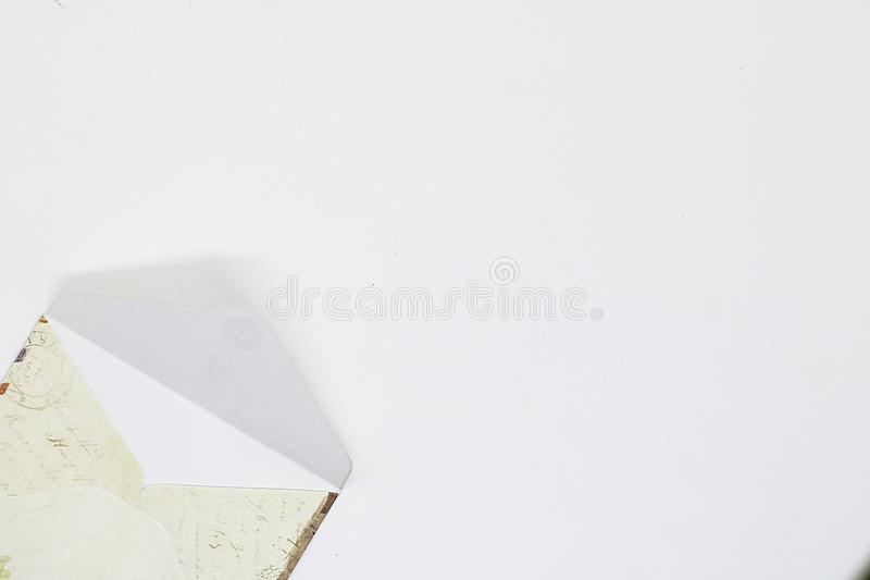 Envelope for letters close-up, space for text stock image
