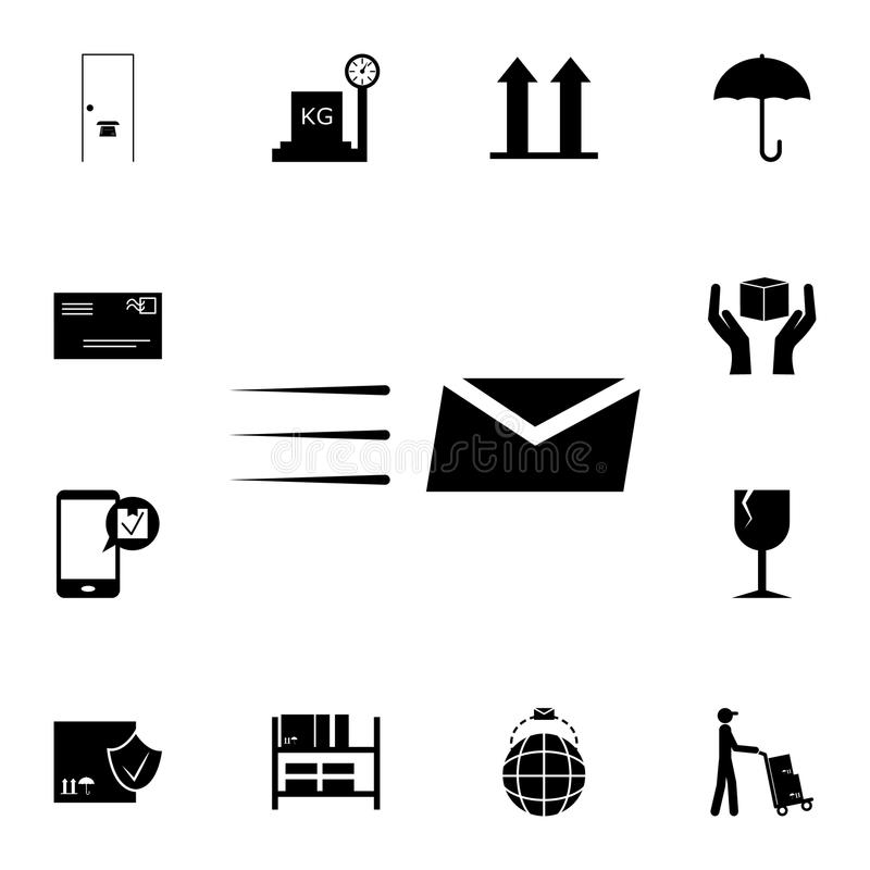 Envelope and lines icon. Detailed set of logistic icons. Premium quality graphic design icon. One of the collection icons for webs. Ites, web design, mobile app stock illustration