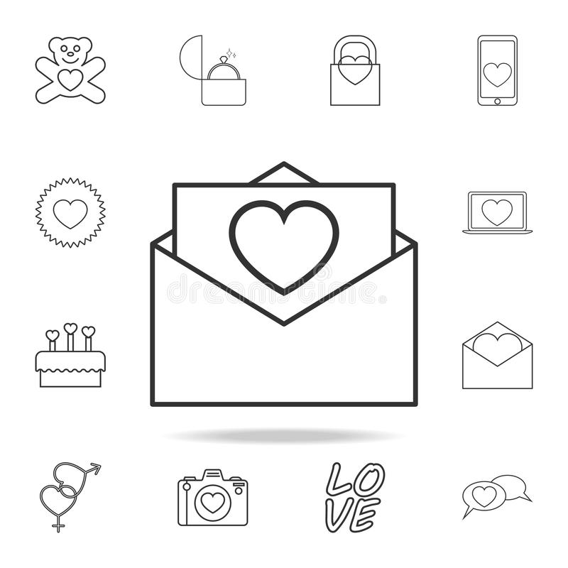 envelope with love letter icon. Set of Love element icons. Premium quality graphic design. Signs, outline symbols collection icon vector illustration