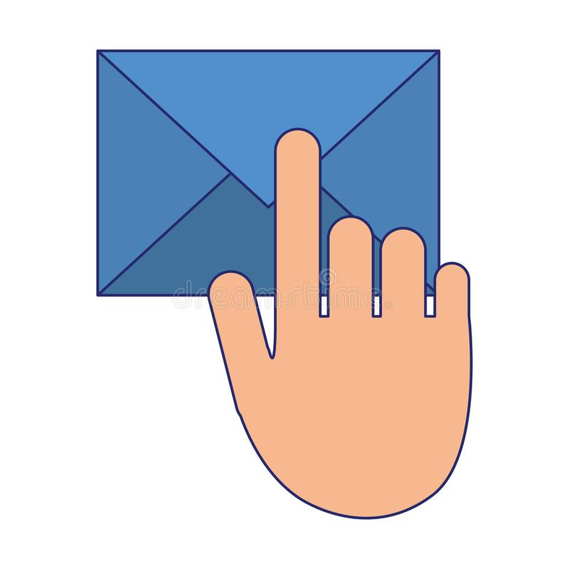 Envelope mail and hand touching symbol blue lines vector illustration