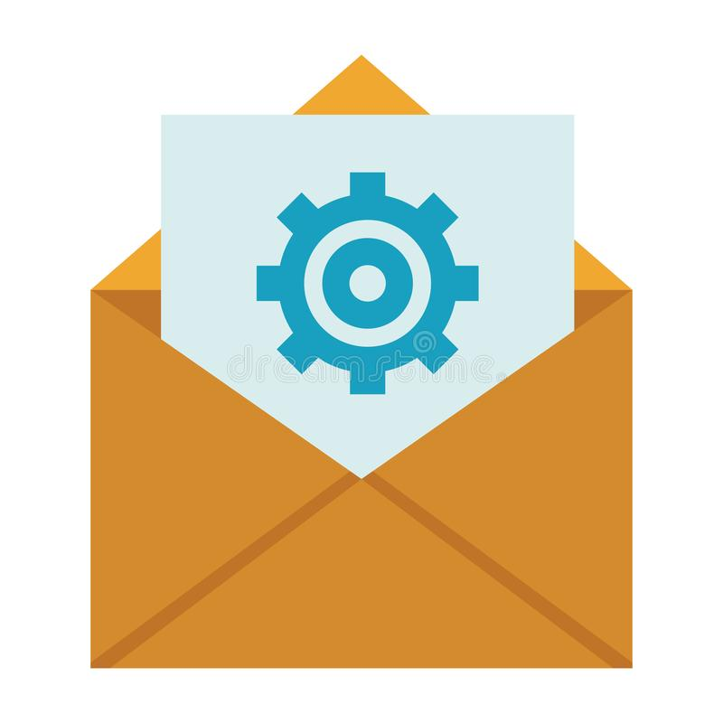 Envelope mail icon. With gear colorful in white background stock illustration