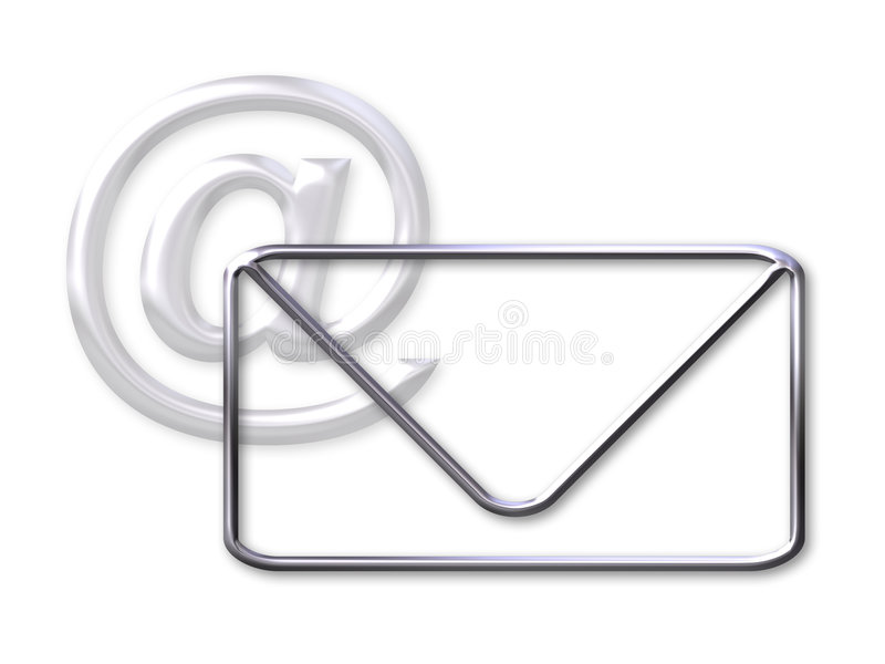 Envelope and mail (@) symbol royalty free illustration