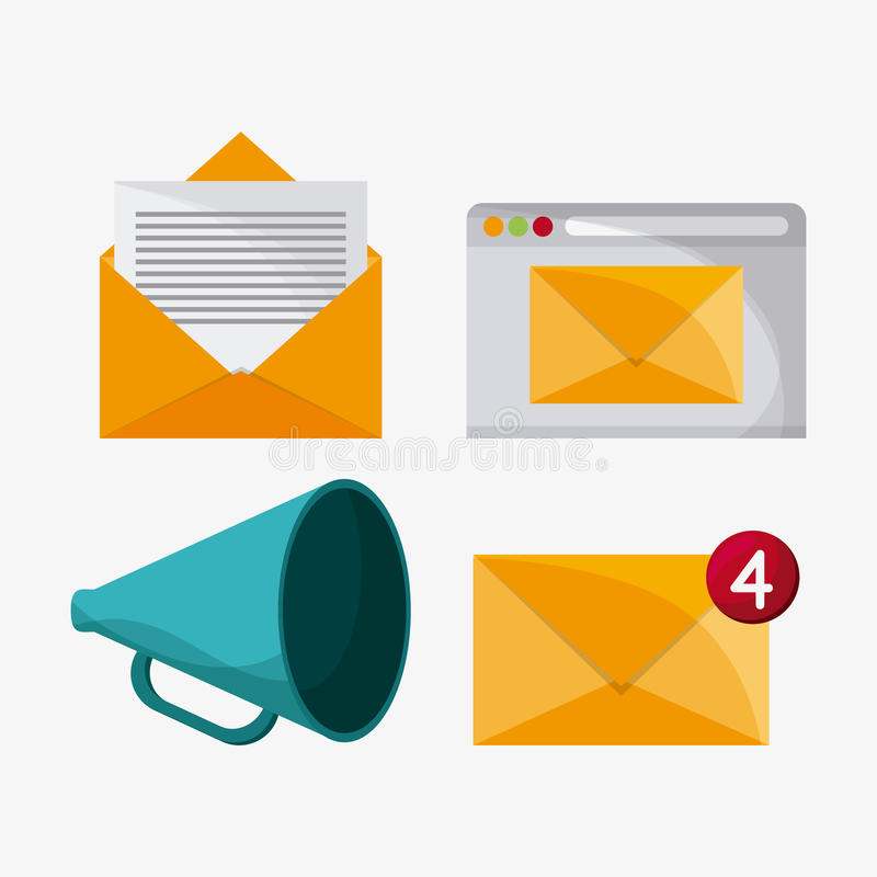 Envelope megaphone mail icon. Envelope megaphone mail message chat communication icon. Colorfull and flat illustration vector royalty free illustration