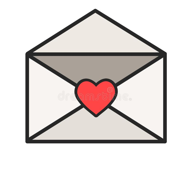 Envelope message letter romance with red heart icon, stock vector illustration. Eps 10 vector illustration