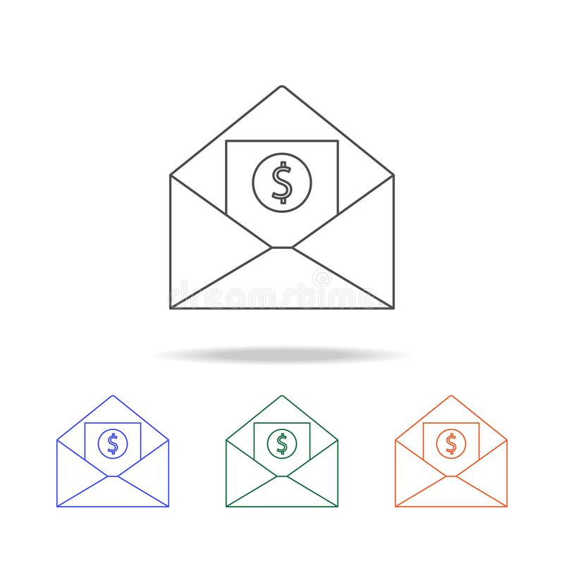 Envelope with money icon. Elements of banking in multi colored icons. Premium quality graphic design icon. Simple icon for website. S, web design, mobile app stock illustration