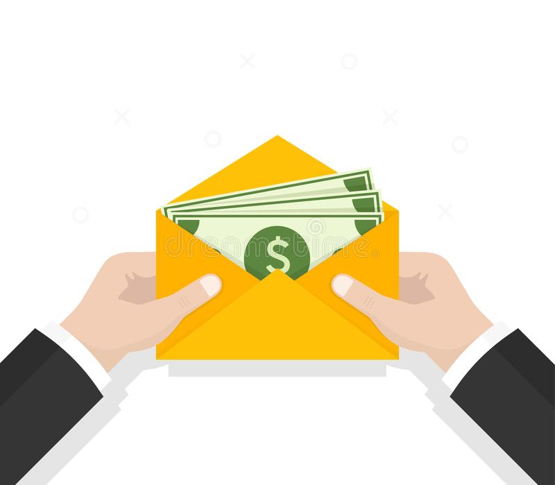 Envelope with money. Open envelope with dollars. Vector illustration in flat style. Sending, receiving, rewarding stock illustration