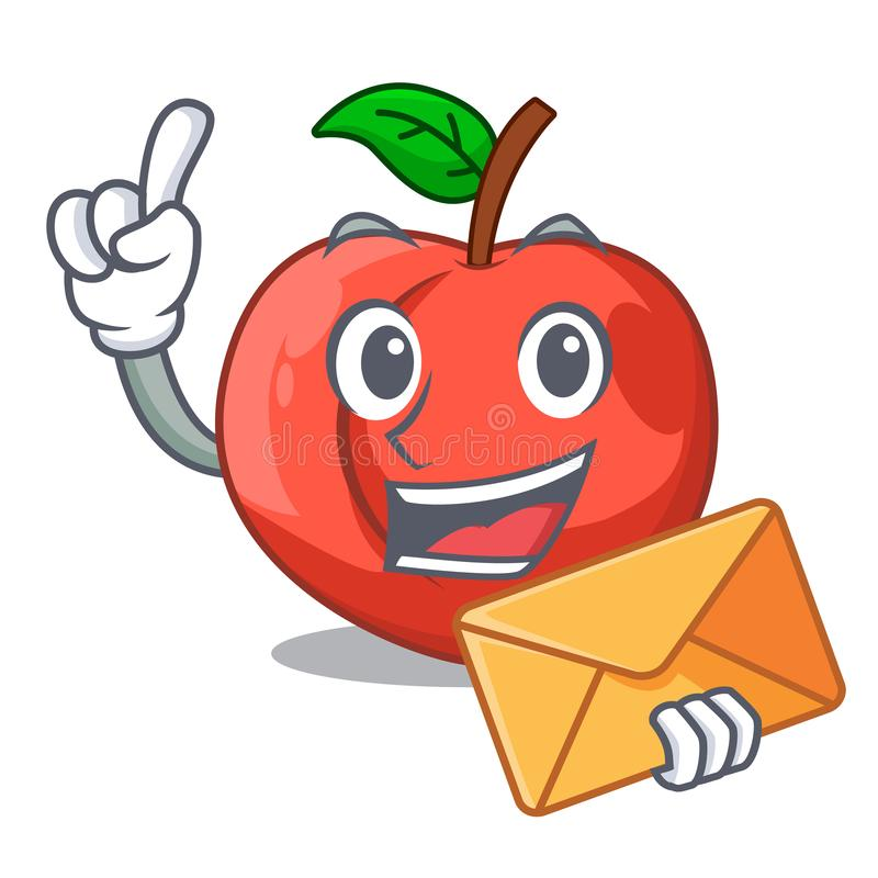 With envelope nectarines cartoon with green leaves character royalty free illustration