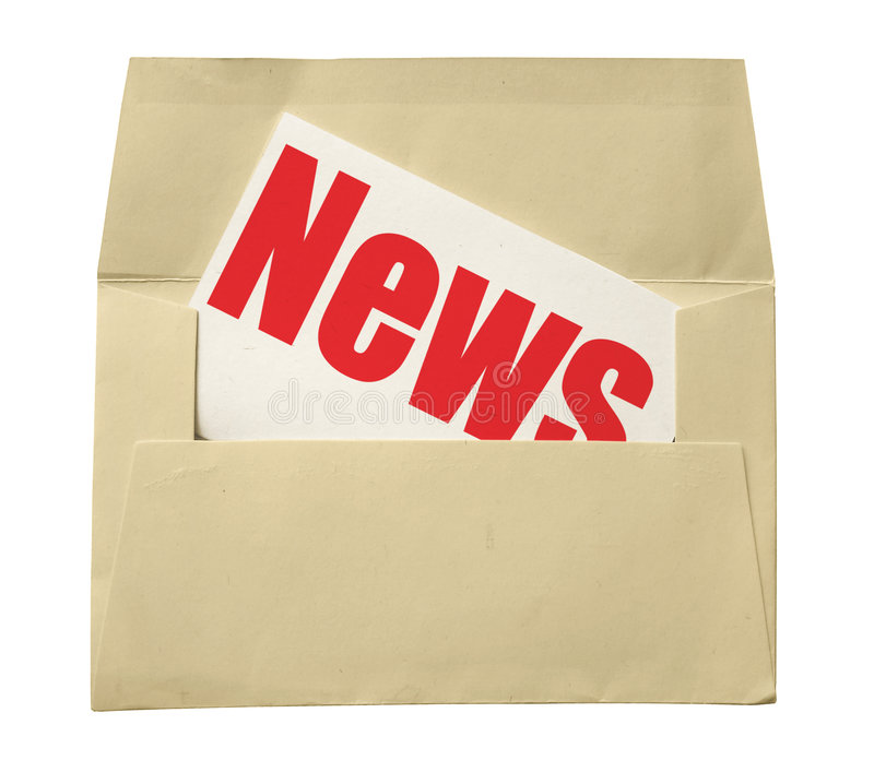 Envelope and note with news stock photo