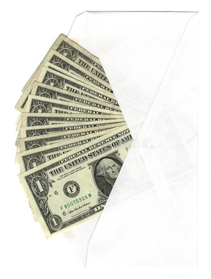 Envelope With One Dollar Bills Royalty Free Stock Photos
