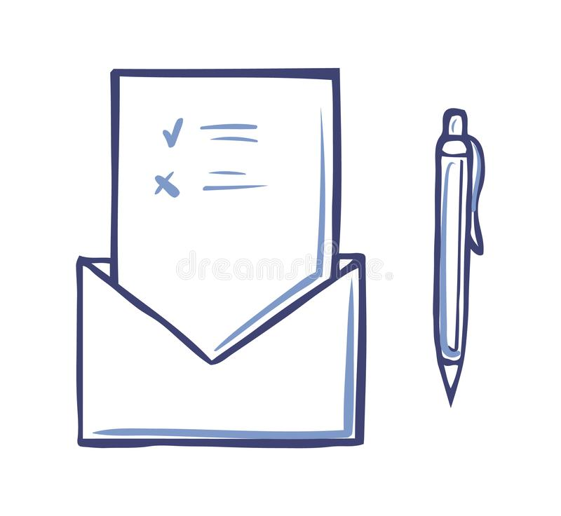 Envelope with opened Voting Page Marks For Against. Envelope with opened voting page having marks and pen icon isolated vector. Ballot and information on sheet royalty free illustration
