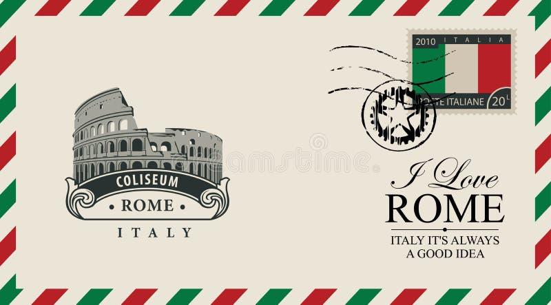 Envelope ou cartão do vetor com Roman Coliseum ilustração stock