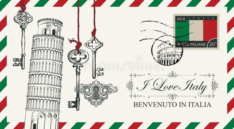 Envelope ou cartão do vetor com torre de Pisa ilustração do vetor