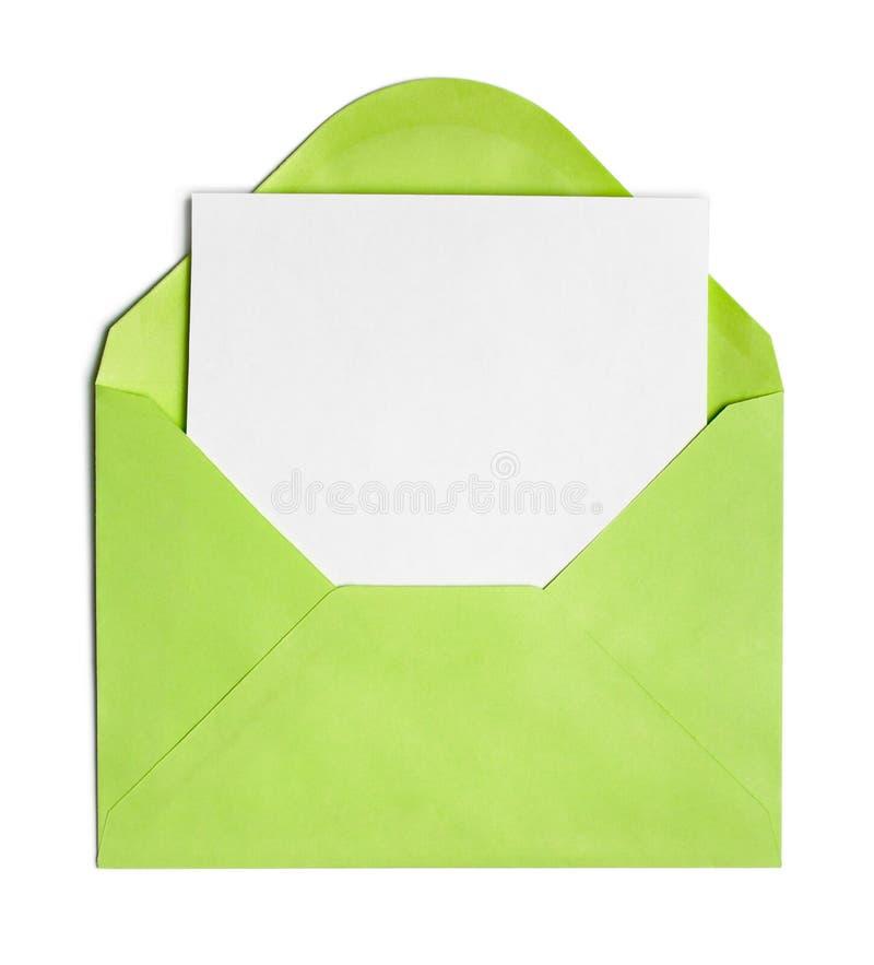 Envelope ou tampa verde aberta fotos de stock