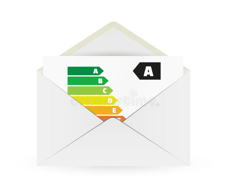 Envelope and paper with energy label royalty free illustration