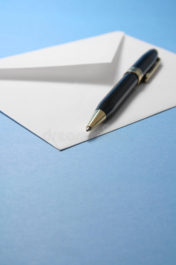 Envelope and pen. Concept of communication royalty free stock photos