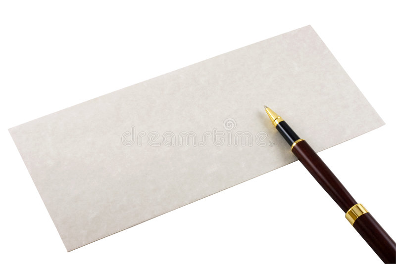 Envelope and Pen. Envelope and a wooden pen isolated in white
