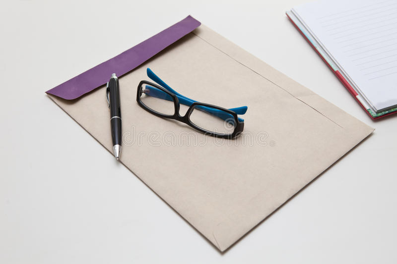 Download Envelope Pen And Glasses Normal Object In Working Royalty Free Stock Images - Image: 26857459