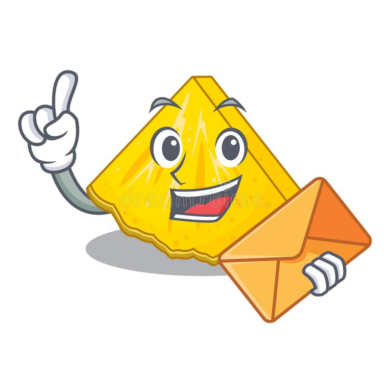 With envelope pineapple slice isolated in the mascot stock illustration