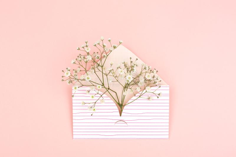 Envelope on pink background. International women`s day, spring or love concept. Background made with cute envelope and baby`s breath flowers. Pastel pink royalty free stock image