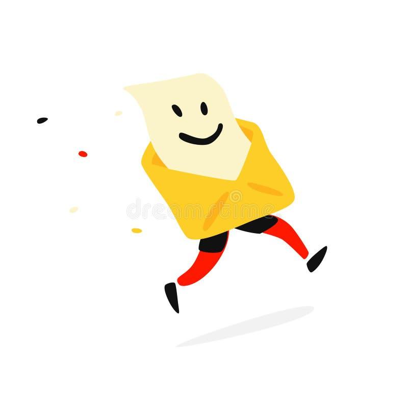 Envelope postal de corrida com uma letra Vetor Você rotula, mensagem Email Mascote para as disposições postais da empresa e de pr ilustração do vetor