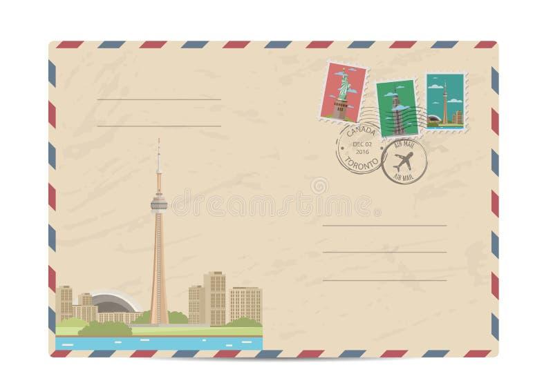 Envelope postal do vintage com selos ilustração royalty free