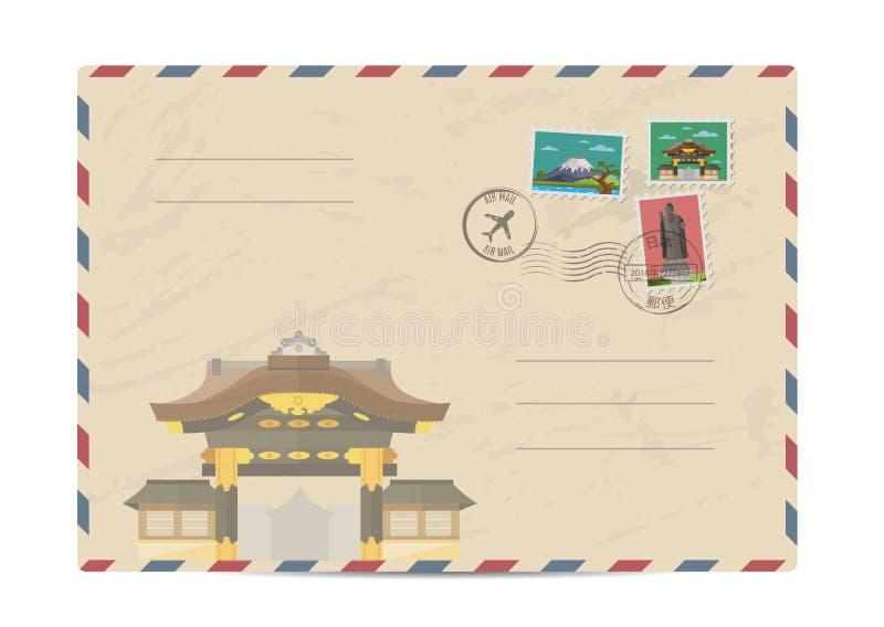 Envelope postal do vintage com selos de Japão ilustração royalty free