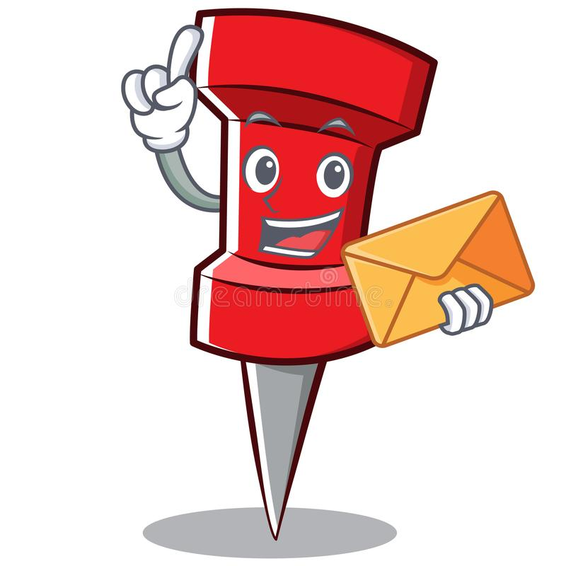 With envelope red pin character cartoon vector illustration