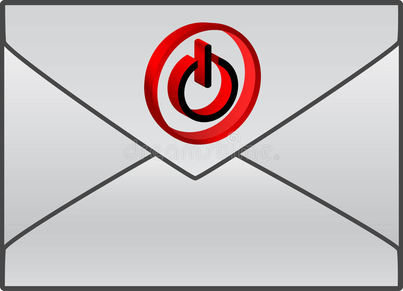 Envelope With Red Power Symbol Stock Photo