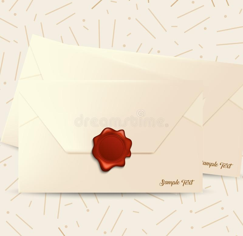 Envelope with red wax seal vector illustration