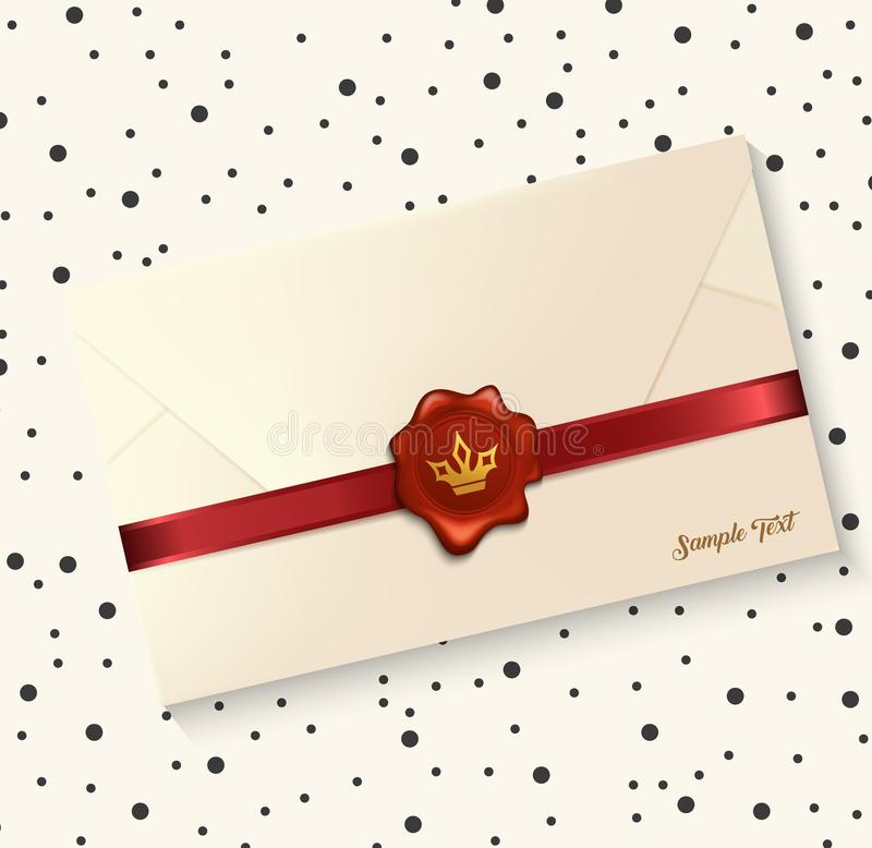 Envelope with red wax seal stock illustration